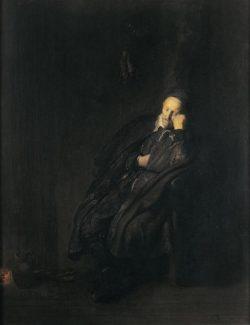 """Rembrandt """"Schlafender-alter-Mann-beim-Feuer"""" 51.9 x 40.8 cm"""