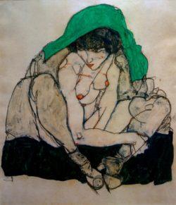 """Egon Schiele """"Kauernde mit grünem Kopftuch"""" 31 x 47 cm"""