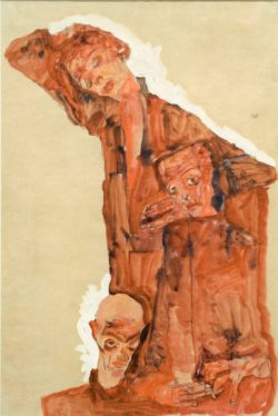 """Egon Schiele """"Dreifache Selbstdarstellung"""" 37 x 55 cm"""