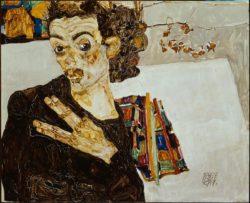 """Egon Schiele """"Selbstbildnis mit schwarzer Vase"""" 34 x 28 cm"""