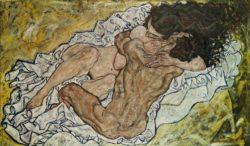 """Egon Schiele """"Umarmung"""" 70 x 100 cm"""