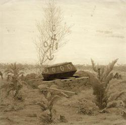 """Caspar David Friedrich """"Sarg auf einem frischen Grab""""  39 x 39 cm"""