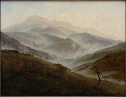 """Caspar David Friedrich """"Riesengebirgslandschaft mit aufsteigendem Nebel""""  70 x 54 cm"""