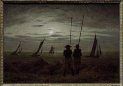 """Caspar David Friedrich """"Mondnacht am Strand mit Fischern""""  30 x 21 cm"""