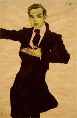 "Egon Schiele ""Der Maler Max Oppenheimer Kniestück"" 30 x 46 cm"