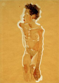 """Egon Schiele """"Knabenakt nach links gewendet"""" 32 x 45 cm"""