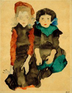 """Egon Schiele """"Zwei kauernde kleine Mädchen"""" 32 x 41 cm"""