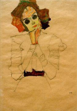 """Egon Schiele """"Mädchen mit Sonnenbrille Gertrude Schiele"""" 31 x 45 cm"""