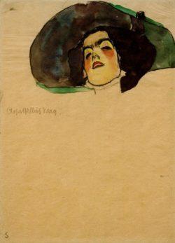 """Egon Schiele """"Bildnis Olga Gallus Prag"""" 32 x 44 cm"""