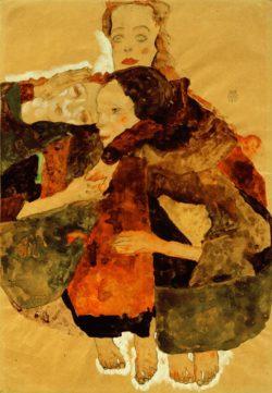 """Egon Schiele """"Gruppe von drei einander umschlungen Mädchen"""" 31 x 44 cm"""