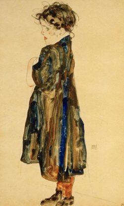 """Egon Schiele """"Halbwüchsiges Bauernmädchen"""" 32 x 48 cm"""