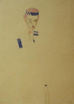 """Egon Schiele """"Selbstbildnis mit blaukariertem Stirnband"""" 30 x 40 cm"""