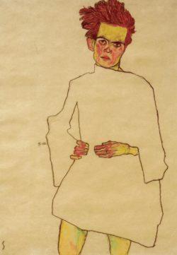"""Egon Schiele """"Selbstbildnis mit Hemd"""" 32 x 45 cm"""