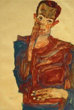 """Egon Schiele """"Selbstbildnis mit Hand an der Wange"""" 31 x 44 cm"""