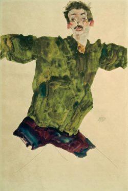 """Egon Schiele """"Selbstbildnis mit ausgebreiteten Armen"""" 32 x 48 cm"""