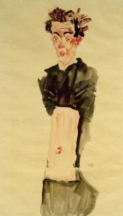 "Egon Schiele ""Selbstbildnis mit entblößtem Nabel"" 36 x 55 cm"