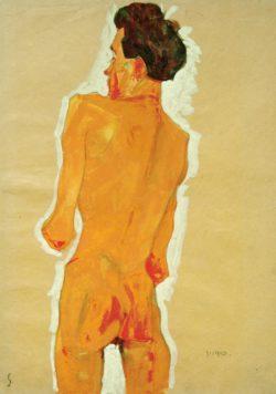 """Egon Schiele """"Stehender männlicher Rückenakt"""" 32 x 45 cm"""