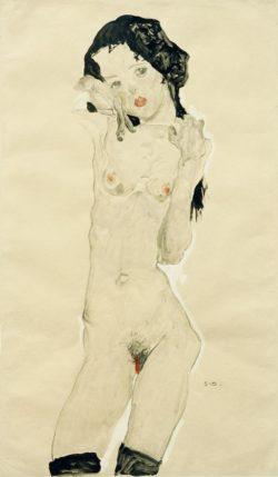"""Egon Schiele """"Schwarzhaariger Mädchenakt"""" 33 x 56 cm"""