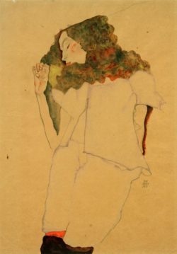 """Egon Schiele """"Schlafendes Mädchen"""" 31 x 45 cm"""