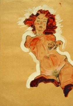 """Egon Schiele """"Weiblicher Akt zurückgelehnt"""" 31 x 44 cm"""