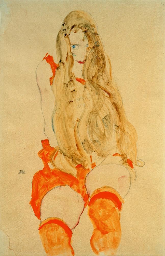 """Egon Schiele """"Sitzendes Mädchen mit orangefarbenem Kleid"""" 31 x 48 cm"""