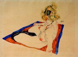 """Egon Schiele """"Blondes Aktmodel auf braunem blau gerändertem Tuch"""" 48 x 32 cm"""