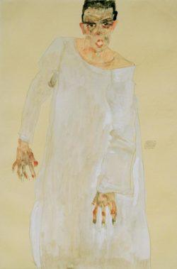 """Egon Schiele """"Selbstbildnis in langem weißen Gewand Rufender"""" 32 x 48 cm"""