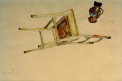 """Egon Schiele """"Organische Bewegung des Sessels und Kruges"""" 48 x 32 cm"""