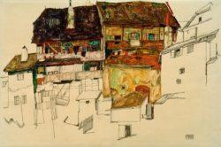 "Egon Schiele ""Alte Häuser in Krumau"" 49 x 33 cm"