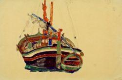 "Egon Schiele ""Triestiner Fischerboot"" 48 x 32 cm"