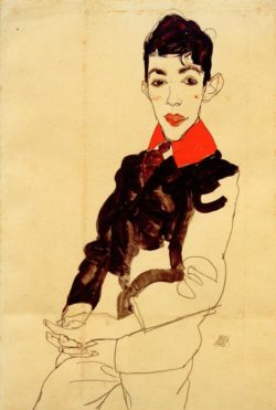 "Egon Schiele ""Knabenbildnis Erich Lederer mit rotem Kragen"" 32 x 48 cm"