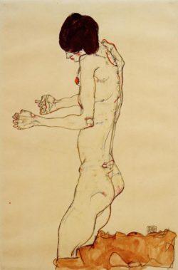 """Egon Schiele """"Kniender Frauenakt die Arme vorgestreckt"""" 32 x 48 cm"""