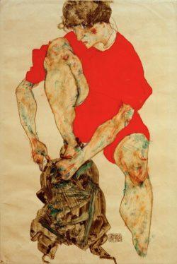 """Egon Schiele """"Weibliches Modell in rotem Gewand"""" 32 x 48 cm"""