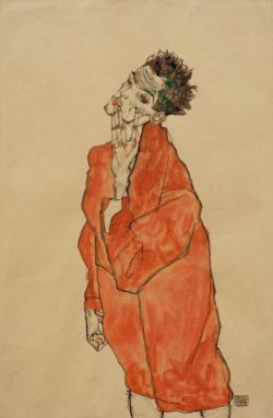 "Egon Schiele ""Selbstbildnis in orangefarbener Jacke"" 32 x 48 cm"