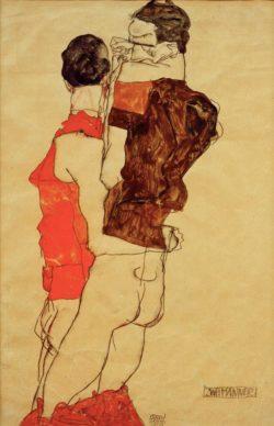 "Egon Schiele ""Zwei Männer"" 32 x 48 cm"