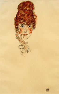 """Egon Schiele """"Edith Schiele Kopf"""" 30 x 46 cm"""