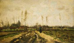 """Vincent van Gogh """"Landschaft mit Kirche und Haeusern"""". 22 x 37 cm"""