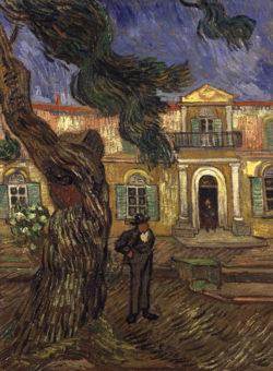 "Vincent van Gogh ""Pinie und Figur vor dem Hospital Saint-Paul"" 63 x 48 cm"