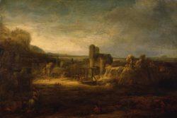 """Rembrandt """"Landschaft-mit-einer-Zugbrücke"""" 42 x 60 cm"""
