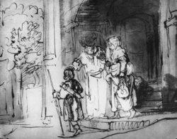 """Rembrandt """"Die-Verstoßung-der-Hagar"""" 18.5 x 23.6 cm"""