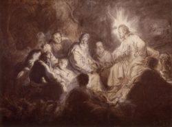 """Rembrandt """"Christus-im-Kreise-seiner-Jünger"""" 35.5 x 47.5 cm"""