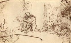 """Rembrandt """"Christus-am-Ölberg-von-einem-Engel-getröstet"""" 18.4 x 30.1 cm"""