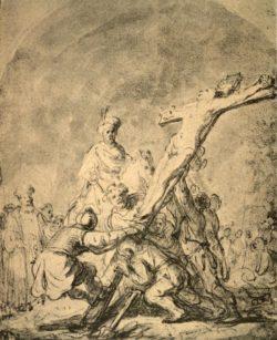 """Rembrandt """"Die-Kreuzaufrichtung"""" 23.3 x 18.7 cm"""