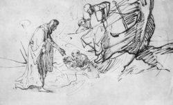 """Rembrandt """"Christus-wandelt-auf-dem-Meer"""" 16.8 x 26.5 cm"""