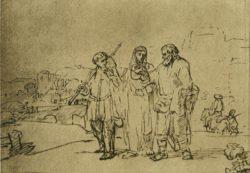 """Rembrandt """"Der-Gang-nach-Emmaus"""" 16.6 x 22.4 cm"""