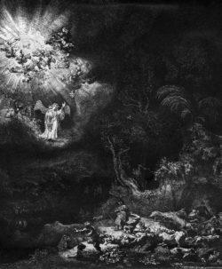 """Rembrandt """"Die-Verkündigung-an-die-Hirten"""" 26.1 x 21.8 cm"""