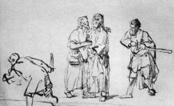 """Rembrandt """"Christus-durch-Judas-verraten"""" 16 x 23.6 cm"""