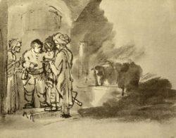 """Rembrandt """"Der-barmherzige-Samariter-am-Eingang-des-Wirtshauses"""" 17.7 x 22.2 cm"""