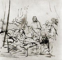 """Rembrandt """"Die-Auferweckung-der-Tochter-des-Jairus"""" 19.8 x 19.8 cm"""