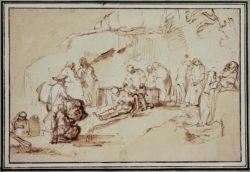 "Rembrandt ""Grablegung-Christi"" 25.4 x 20.3 cm"